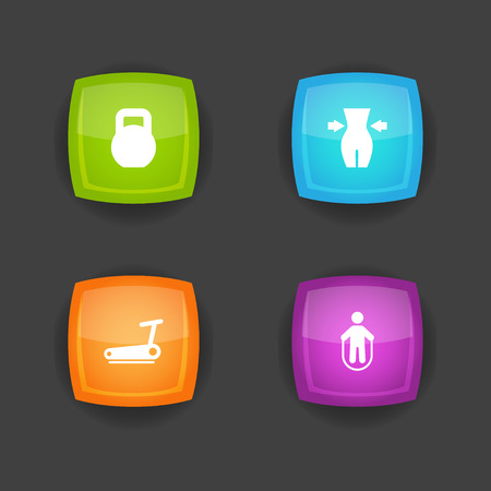 Set of 4 fitness icons set. Collection of kettlebells, running track, weight loss and other elements.