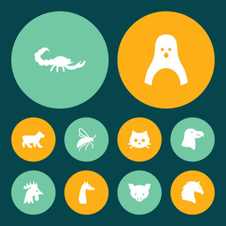 Set of 10 alive icons set. Collection of penguin, scorpion, bear and other elements.