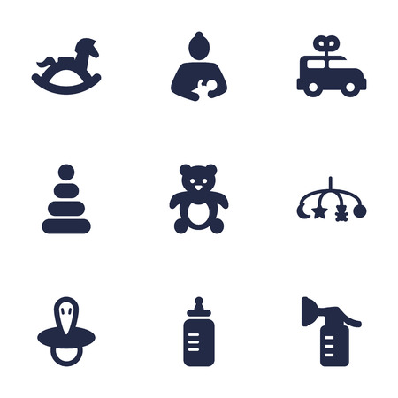 Set of 9 baby icons set. Collection of nipple, clockwork car, breast pump and other elements.