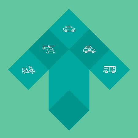 Set of 5 transport icons line style set. Collection of autobus, copter, taxicab and other elements. Illustration