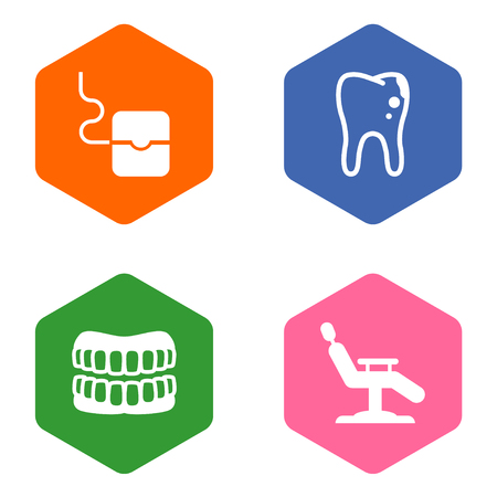 Set of 4 dentist icons set. Collection of chair, floss, denture and other elements.