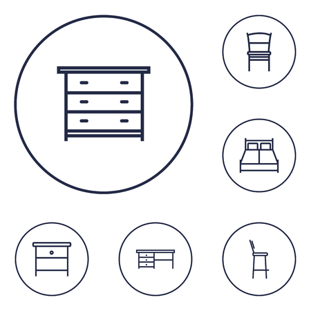 Set of 6 set icons line style set. Collection of chair, stool, worktop and other elements. 版權商用圖片