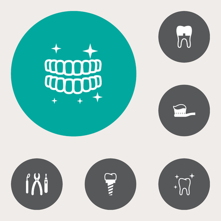 Set of 6 teeth icons set. Collection of toothbrush, equipments, implant and other elements. Illusztráció