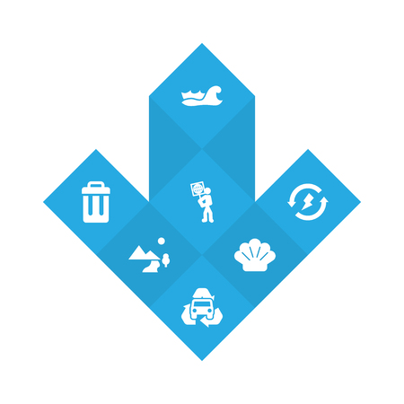 Set of 7 ecology icons set. Collection of trash bin, waves water, air and other elements.