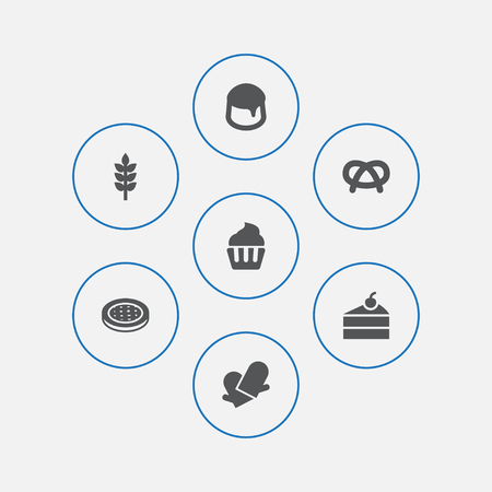 Set of 7 pastry icons set. Collection of cupcake, cheesecake, wheat and other elements.