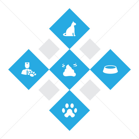 Set of 5 mammal icons set. Collection of cat, caw, vet and other elements. Vector Illustration