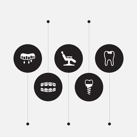 Set of 5 dentist icons set. Collection of implant, brace, alignment and other elements.
