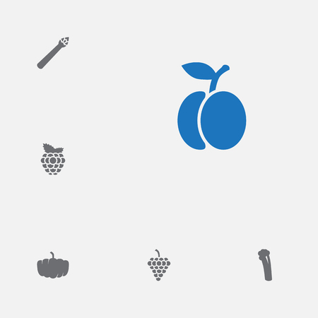 Set of 6 vitamin icons set. Collection of peach, celery, grape and other elements. Vectores