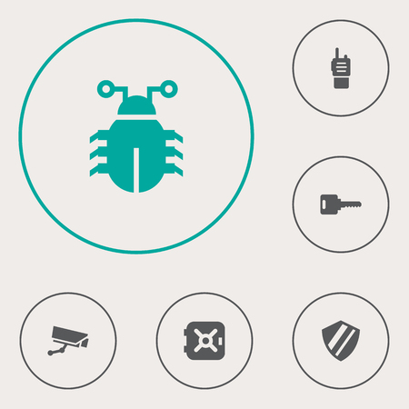 Set of 6 security icons set. Collection of security, bug, ratio and other elements. Illustration