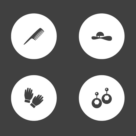 Set of 4 accessories icons set. Collection of gloves, comb, earring and other elements.