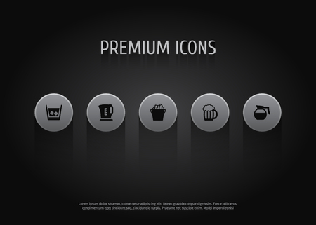 Set of 5 beverages icons set. Collection of kettle, whiskey, ice bucket and other elements.