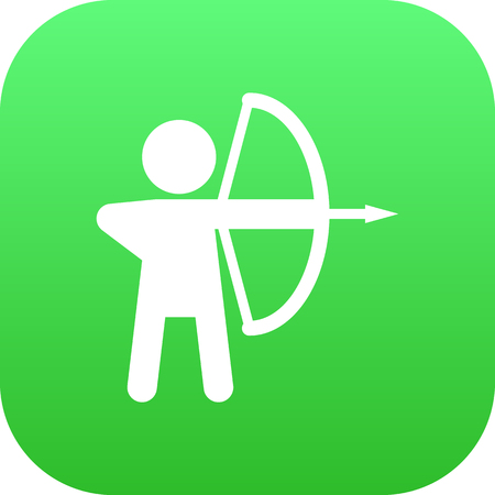 Isolated archer icon symbol on clean background.  longbow element in trendy style. Stock Photo