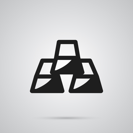 Isolated gold bars icon symbol on clean background.  ingot element in trendy style.