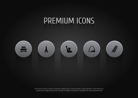 Set of 5 monument icons set. Collection of statue of liberty, leaning tower, gateway arch and other elements.