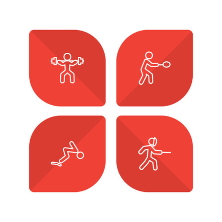 Set of 4 sport icons line style set. Collection of fencing, diving, weightlifting and other elements. Illustration
