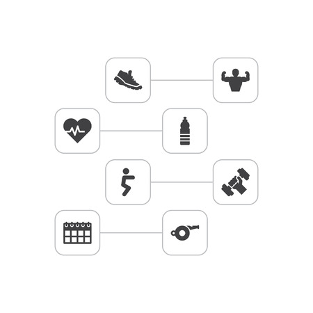 Set of 8 training icons set. Collection of water bottle, bodybuilder, pulse and other elements.