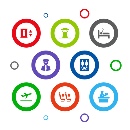 Set of 8 airplane icons set. Collection of pilot, control tower, economy class and other elements.