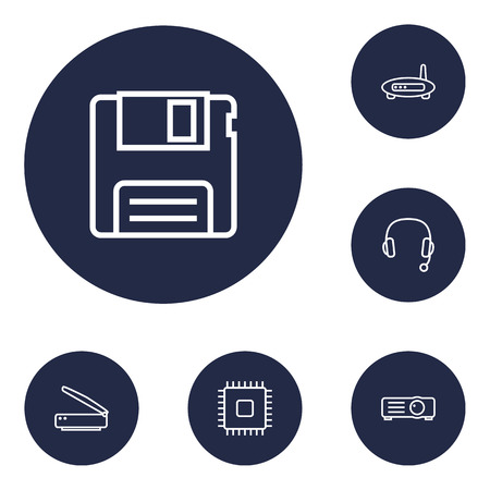 Set of 6 notebook icons line style set. Collection of show, router, diskette and other elements. 版權商用圖片