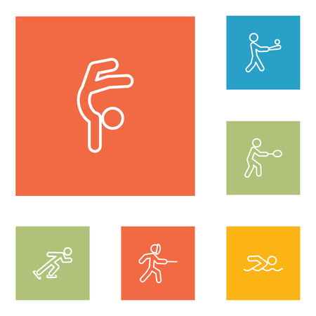 Set of 6 fitness icons line style set. Collection of artistic, fencing, ski running and other elements. Illustration