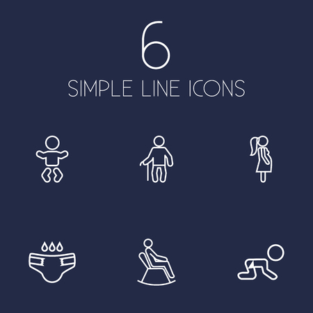 Set of 6 family icons line style set. Collection of grandpa, nappy, creep baby elements.