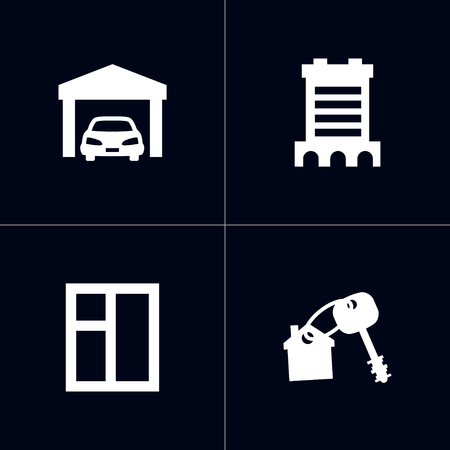 Set of 4  icons set. Collection of building, window, opening and other elements.
