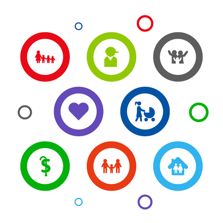 Set of 8 people icons set. Collection of parents, motherhood, soul and other elements.