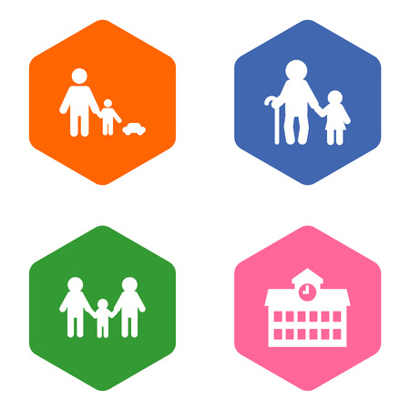 Set of 4 family icons set. Collection of homosexual, grandpa, playing elements.