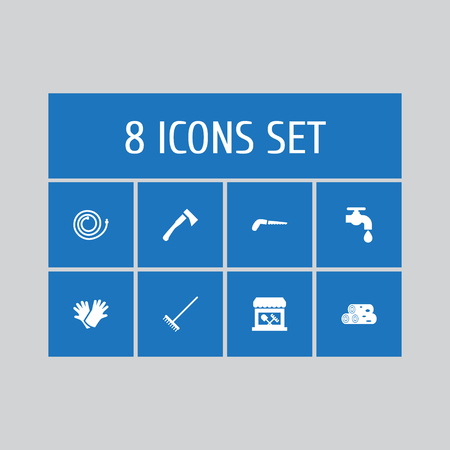 Set of 8 household icons set. Collection of tool shop, hosepipe, water supply and other elements. Çizim