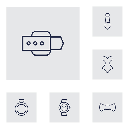 Set of 6 accessories icons line style set. Collection of tie, wear, ring and other elements.