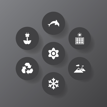 Set of 7 nature icons set. Collection of mountain, eco energy, dolphin and other elements. Illustration