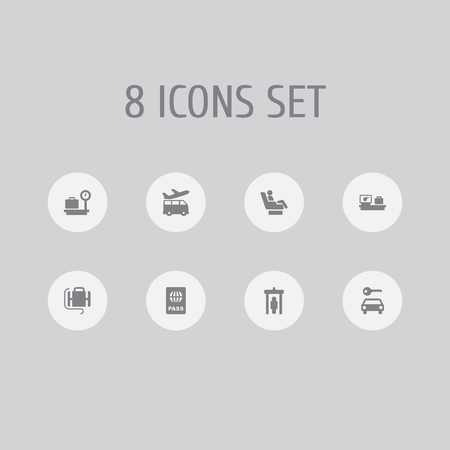 Set of 8 aircraft icons set. Collection of certification, business class, detector and other elements.