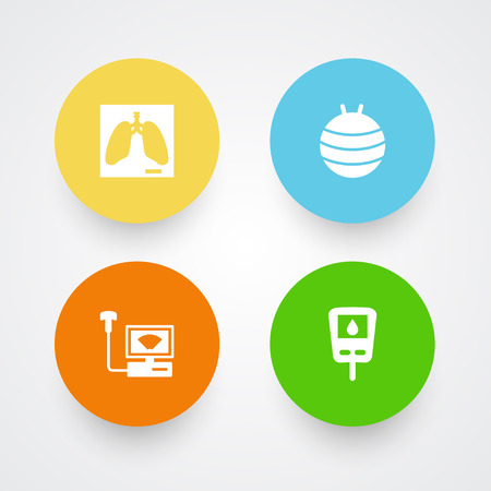 Set of 4 healthy icons set. Collection of gymnastic ball, ultrasound, glucometer and other elements.