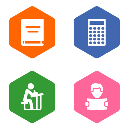 Set of 4 studies icons set. Collection of encyclopedia, learning, calculator and other elements.