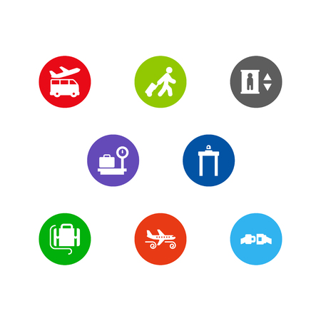 Set of 8 aircraft icons set. Collection of airport security, turbulence, tourist and other elements. Illustration