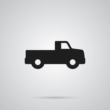 Isolated dumper truck icon symbol on clean background. Vector pickup element in trendy style.