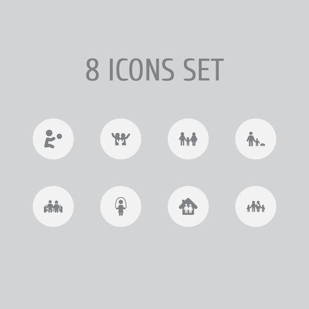 Set of 8 relatives icons set. Collection of playing, parents, happy and other elements.