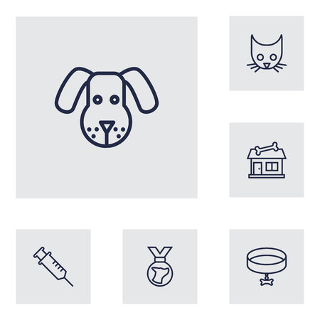 Set of 6 pets icons line style set. Collection of store, injection, neckband elements.