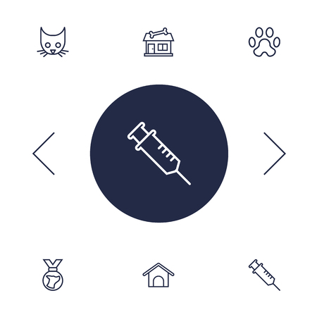 Set of 6 mammal icons line style set. Collection of medallion, injection, cat and other elements.