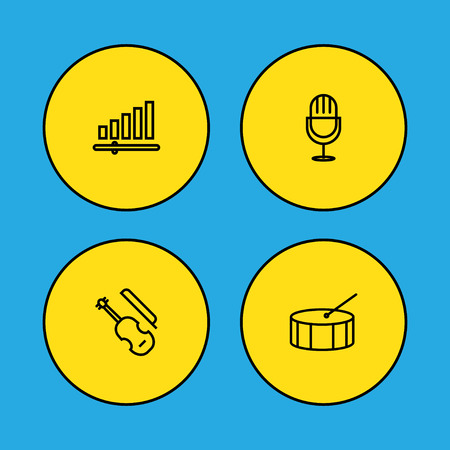 Set of 4 song icons line style set. Collection of drum, volume control, violin and other elements. Stok Fotoğraf