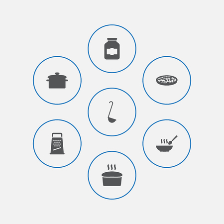 Set of 7 cooking icons set. Collection of pan, grater, soup and other elements. Standard-Bild