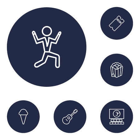 Set of 6 amusement icons line style set. Collection of hall, snack, pass and other elements.