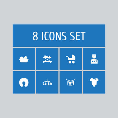 Set of 8 kid icons set. Collection of carriage, walker, toys and other elements.