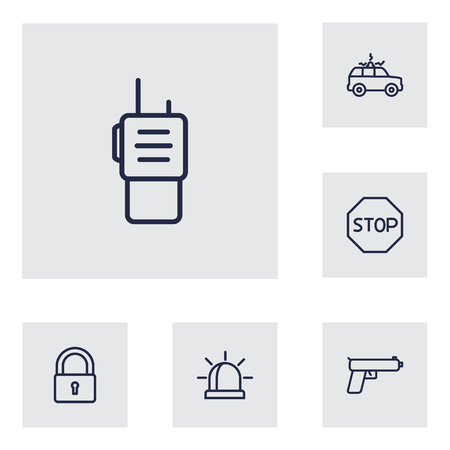 Set of 6 security icons line style set. Collection of siren, suv, padlock and other elements. Illustration