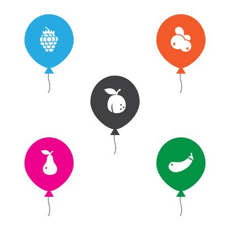 Set of 5 vitamin icons set. Collection of pear, apricot, cranberry and other elements. Vektoros illusztráció