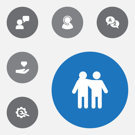 Set of 6 support icons set. Collection of call center, charity, interpreter and other elements. Illustration
