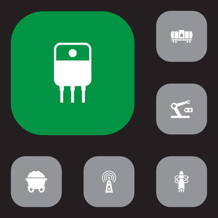 Set of 6 technology icons set. Collection of cistern, transistor, robot and other elements.