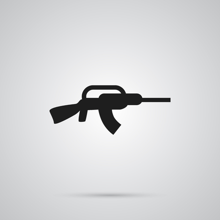 Isolated assault rifle icon symbol on clean background. Stock Photo