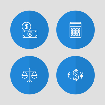 Set of 4 budget icons line style set. Collection of calculate, currency, money and other elements.
