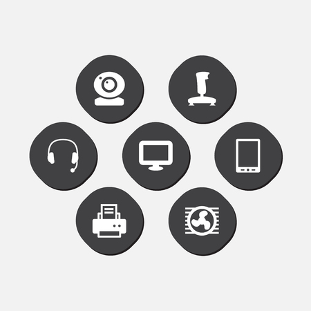 Set of 7 notebook icons set. Collection of tablet, web cam, printer and other elements. Ilustração