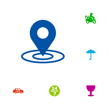 Set of 6 shipping icons set. Collection of taxi, pinpoint, delivery and other elements. 版權商用圖片